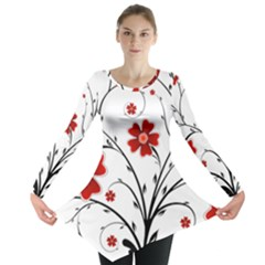 Flower Vector Art Long Sleeve Tunic