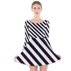 Black And White Geometric Line Pattern Long Sleeve Velvet Skater Dress