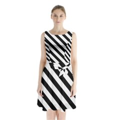 Black And White Geometric Line Pattern Sleeveless Chiffon Waist Tie Dress