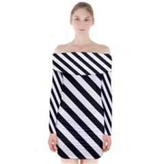 Black And White Geometric Line Pattern Long Sleeve Off Shoulder Dress