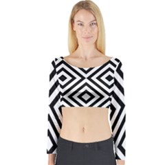 Black And White Geometric Line Pattern Long Sleeve Crop Top