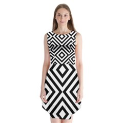 Black And White Geometric Line Pattern Sleeveless Chiffon Dress