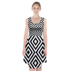 Black And White Geometric Line Pattern Racerback Midi Dress