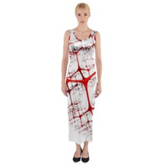 Fractal Heart Fitted Maxi Dress