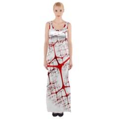 Fractal Heart Maxi Thigh Split Dress