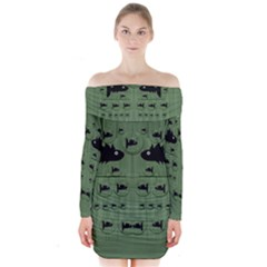 Pescado Fish Con Pasta And Baby Fishes Long Sleeve Off Shoulder Dress