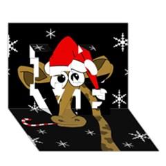 Christmas Giraffe Love 3d Greeting Card (7x5)