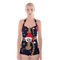 Christmas giraffe Boyleg Halter Swimsuit