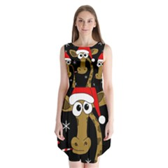 Christmas Giraffe Sleeveless Chiffon Dress