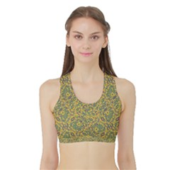 Modern Abstract Ornate Women s Reversible Sports Bra with Border