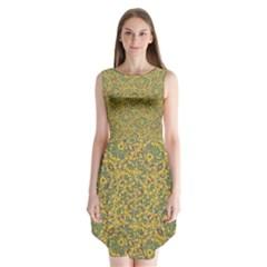 Modern Abstract Ornate Sleeveless Chiffon Dress