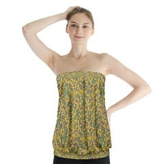 Modern Abstract Ornate Strapless Top