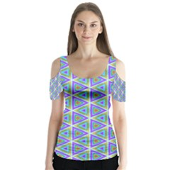 Colorful Retro Geometric Pattern Butterfly Sleeve Cutout Tee
