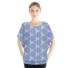 Colorful Retro Geometric Pattern Batwing Chiffon Blouse