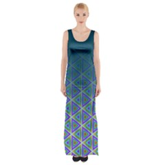 Ombre Retro Geometric Pattern Maxi Thigh Split Dress