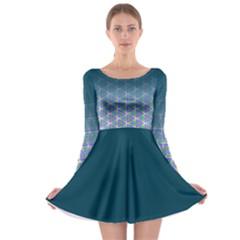 Ombre Retro Geometric Pattern Long Sleeve Skater Dress