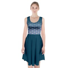 Ombre Retro Geometric Pattern Racerback Midi Dress