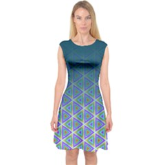 Ombre Retro Geometric Pattern Capsleeve Midi Dress