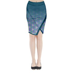 Ombre Retro Geometric Pattern Midi Wrap Pencil Skirt