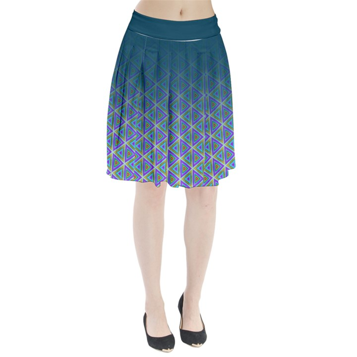 Ombre Retro Geometric Pattern Pleated Skirt