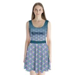 Ombre Retro Geometric Pattern Split Back Mini Dress