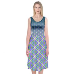 Ombre Retro Geometric Pattern Midi Sleeveless Dress