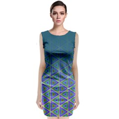 Ombre Retro Geometric Pattern Classic Sleeveless Midi Dress