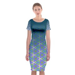 Ombre Retro Geometric Pattern Classic Short Sleeve Midi Dress