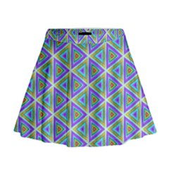 Colorful Retro Geometric Pattern Mini Flare Skirt