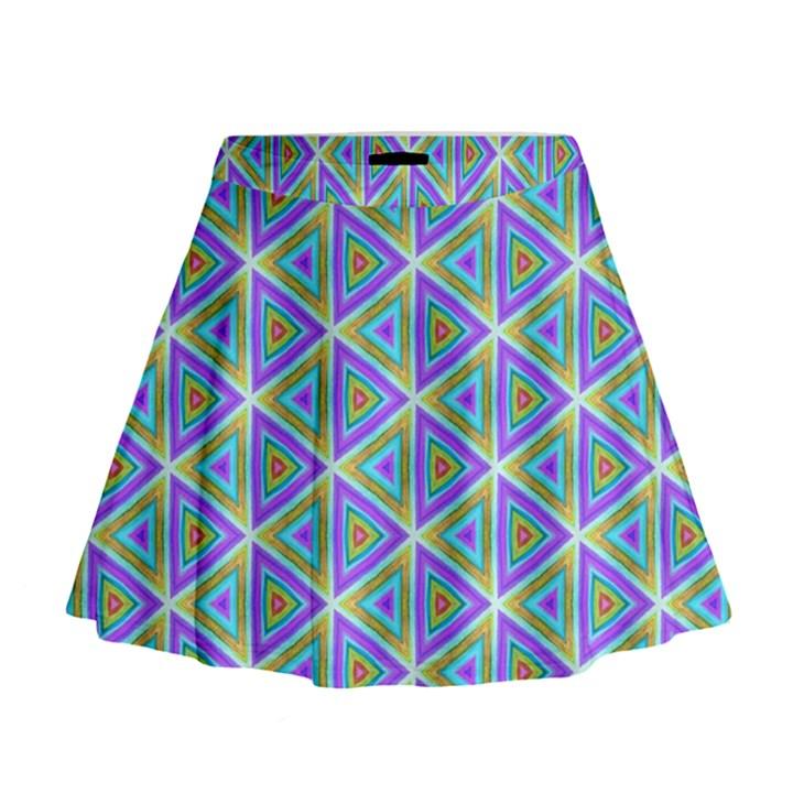 Colorful Retro Geometric Pattern Mini Flare Skirt