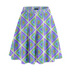 Colorful Retro Geometric Pattern High Waist Skirt