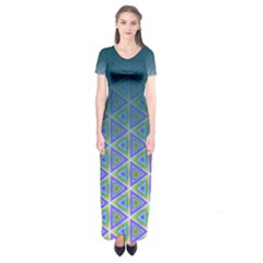 Ombre Retro Geometric Pattern Short Sleeve Maxi Dress