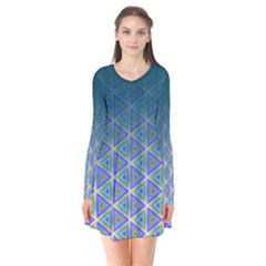 Ombre Retro Geometric Pattern Long Sleeve V Neck Flare Dress