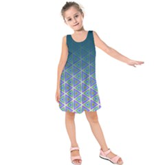 Ombre Retro Geometric Pattern Kids  Sleeveless Dress