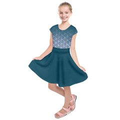 Ombre Retro Geometric Pattern Kids  Short Sleeve Dress