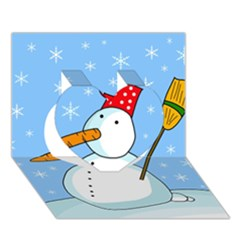 Snowman Heart 3D Greeting Card (7x5)