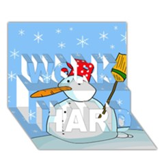 Snowman WORK HARD 3D Greeting Card (7x5)