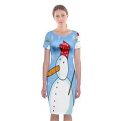 Snowman Classic Short Sleeve Midi Dress