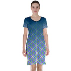 Ombre Retro Geometric Pattern Short Sleeve Nightdress