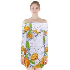 Fruits Water Vegetables Food Long Sleeve Off Shoulder Dress