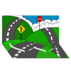 Hit the road Twin Heart Bottom 3D Greeting Card (8x4)