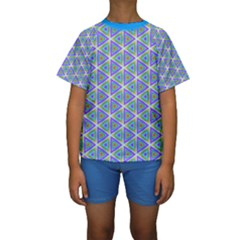Colorful Retro Geometric Pattern Kids  Short Sleeve Swimwear
