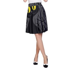 Black cat - Halloween A-Line Skirt