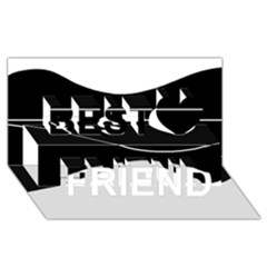 Black and white Best Friends 3D Greeting Card (8x4)