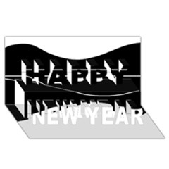 Black and white Happy New Year 3D Greeting Card (8x4)