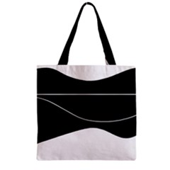 Black and white Zipper Grocery Tote Bag