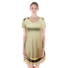Gold Oval Badge Transparent Clip Art Short Sleeve V-neck Flare Dress