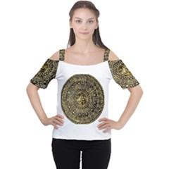 Gold Roman Shield Costume Women s Cutout Shoulder Tee