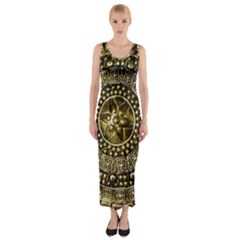Gold Roman Shield Costume Fitted Maxi Dress