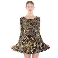 Gold Roman Shield Costume Long Sleeve Velvet Skater Dress